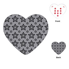 Star Grey Black Line Space Playing Cards (heart)  by Alisyart