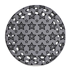 Star Grey Black Line Space Round Filigree Ornament (two Sides) by Alisyart