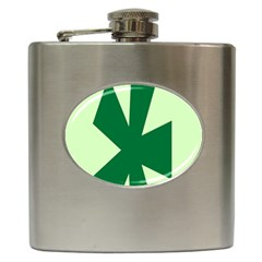 Starburst Shapes Large Circle Green Hip Flask (6 Oz) by Alisyart