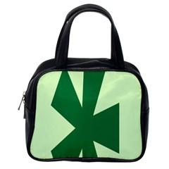 Starburst Shapes Large Circle Green Classic Handbags (one Side) by Alisyart