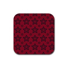 Star Red Black Line Space Rubber Coaster (square)  by Alisyart