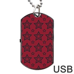 Star Red Black Line Space Dog Tag Usb Flash (one Side) by Alisyart