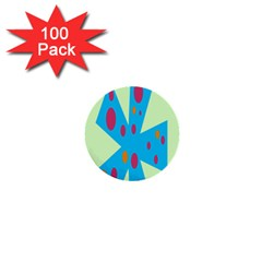 Starburst Shapes Large Circle Green Blue Red Orange Circle 1  Mini Buttons (100 Pack)  by Alisyart