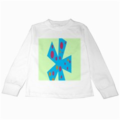 Starburst Shapes Large Circle Green Blue Red Orange Circle Kids Long Sleeve T Shirts by Alisyart