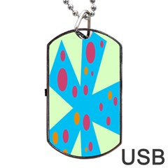 Starburst Shapes Large Circle Green Blue Red Orange Circle Dog Tag Usb Flash (one Side) by Alisyart