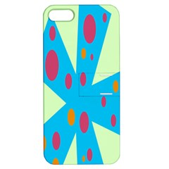 Starburst Shapes Large Circle Green Blue Red Orange Circle Apple Iphone 5 Hardshell Case With Stand by Alisyart