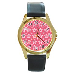 Star Pink White Line Space Round Gold Metal Watch by Alisyart