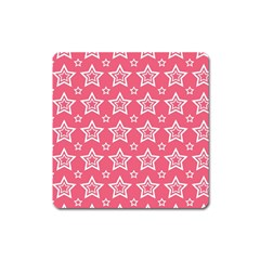 Star Pink White Line Space Square Magnet by Alisyart