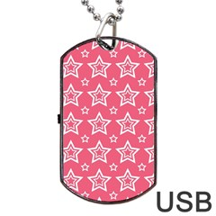 Star Pink White Line Space Dog Tag Usb Flash (one Side) by Alisyart