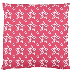 Star Pink White Line Space Large Flano Cushion Case (two Sides) by Alisyart
