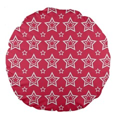 Star Pink White Line Space Large 18  Premium Flano Round Cushions by Alisyart