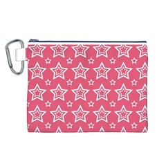 Star Pink White Line Space Canvas Cosmetic Bag (l) by Alisyart