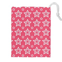 Star Pink White Line Space Drawstring Pouches (xxl) by Alisyart