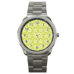 Star Yellow White Line Space Sport Metal Watch by Alisyart