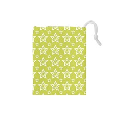Star Yellow White Line Space Drawstring Pouches (small)  by Alisyart