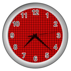 Red And Black Wall Clocks (silver)  by PhotoNOLA