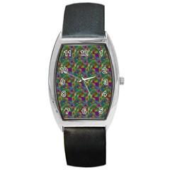 Pattern Abstract Paisley Swirls Barrel Style Metal Watch by Simbadda