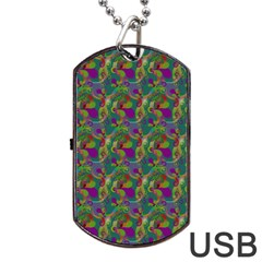 Pattern Abstract Paisley Swirls Dog Tag Usb Flash (two Sides) by Simbadda