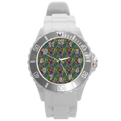 Pattern Abstract Paisley Swirls Round Plastic Sport Watch (l) by Simbadda