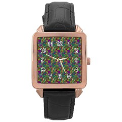 Pattern Abstract Paisley Swirls Rose Gold Leather Watch  by Simbadda