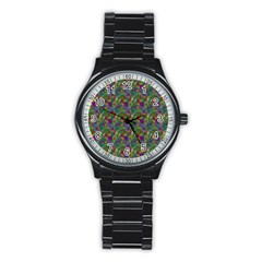 Pattern Abstract Paisley Swirls Stainless Steel Round Watch by Simbadda