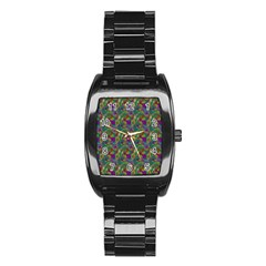 Pattern Abstract Paisley Swirls Stainless Steel Barrel Watch by Simbadda