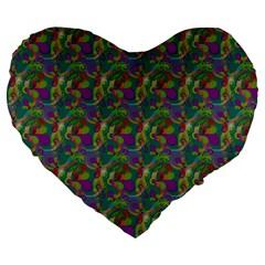 Pattern Abstract Paisley Swirls Large 19  Premium Flano Heart Shape Cushions by Simbadda