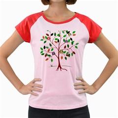 Tree Root Leaves Owls Green Brown Women s Cap Sleeve T Shirt by Simbadda