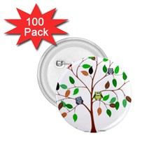Tree Root Leaves Owls Green Brown 1 75  Buttons (100 Pack)  by Simbadda