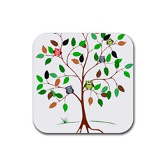 Tree Root Leaves Owls Green Brown Rubber Square Coaster (4 Pack)  by Simbadda