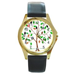 Tree Root Leaves Owls Green Brown Round Gold Metal Watch by Simbadda