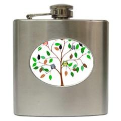 Tree Root Leaves Owls Green Brown Hip Flask (6 Oz) by Simbadda
