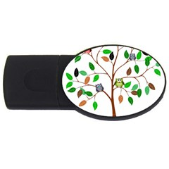 Tree Root Leaves Owls Green Brown Usb Flash Drive Oval (2 Gb) by Simbadda