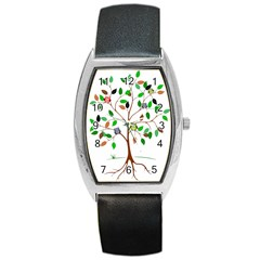 Tree Root Leaves Owls Green Brown Barrel Style Metal Watch by Simbadda