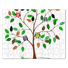 Tree Root Leaves Owls Green Brown Rectangular Jigsaw Puzzl by Simbadda