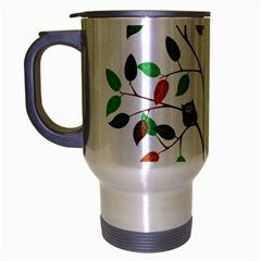 Tree Root Leaves Owls Green Brown Travel Mug (silver Gray) by Simbadda