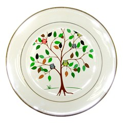 Tree Root Leaves Owls Green Brown Porcelain Plates by Simbadda