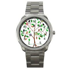 Tree Root Leaves Owls Green Brown Sport Metal Watch by Simbadda