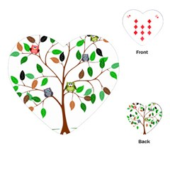 Tree Root Leaves Owls Green Brown Playing Cards (heart)  by Simbadda