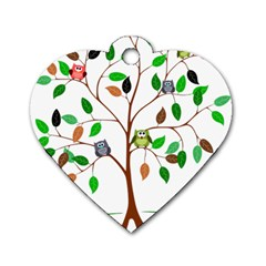 Tree Root Leaves Owls Green Brown Dog Tag Heart (two Sides) by Simbadda