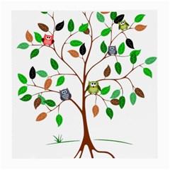 Tree Root Leaves Owls Green Brown Medium Glasses Cloth by Simbadda