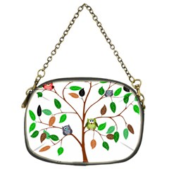 Tree Root Leaves Owls Green Brown Chain Purses (one Side)  by Simbadda