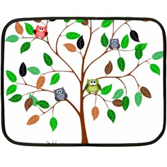 Tree Root Leaves Owls Green Brown Double Sided Fleece Blanket (mini)  by Simbadda