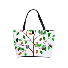 Tree Root Leaves Owls Green Brown Shoulder Handbags by Simbadda