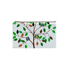 Tree Root Leaves Owls Green Brown Cosmetic Bag (small)  by Simbadda