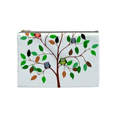 Tree Root Leaves Owls Green Brown Cosmetic Bag (medium)  by Simbadda