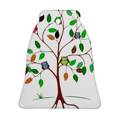 Tree Root Leaves Owls Green Brown Ornament (bell) by Simbadda