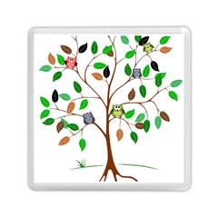 Tree Root Leaves Owls Green Brown Memory Card Reader (square)  by Simbadda