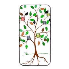 Tree Root Leaves Owls Green Brown Apple Iphone 4/4s Seamless Case (black) by Simbadda