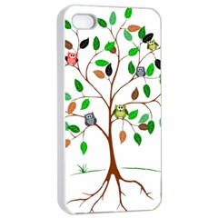 Tree Root Leaves Owls Green Brown Apple Iphone 4/4s Seamless Case (white) by Simbadda